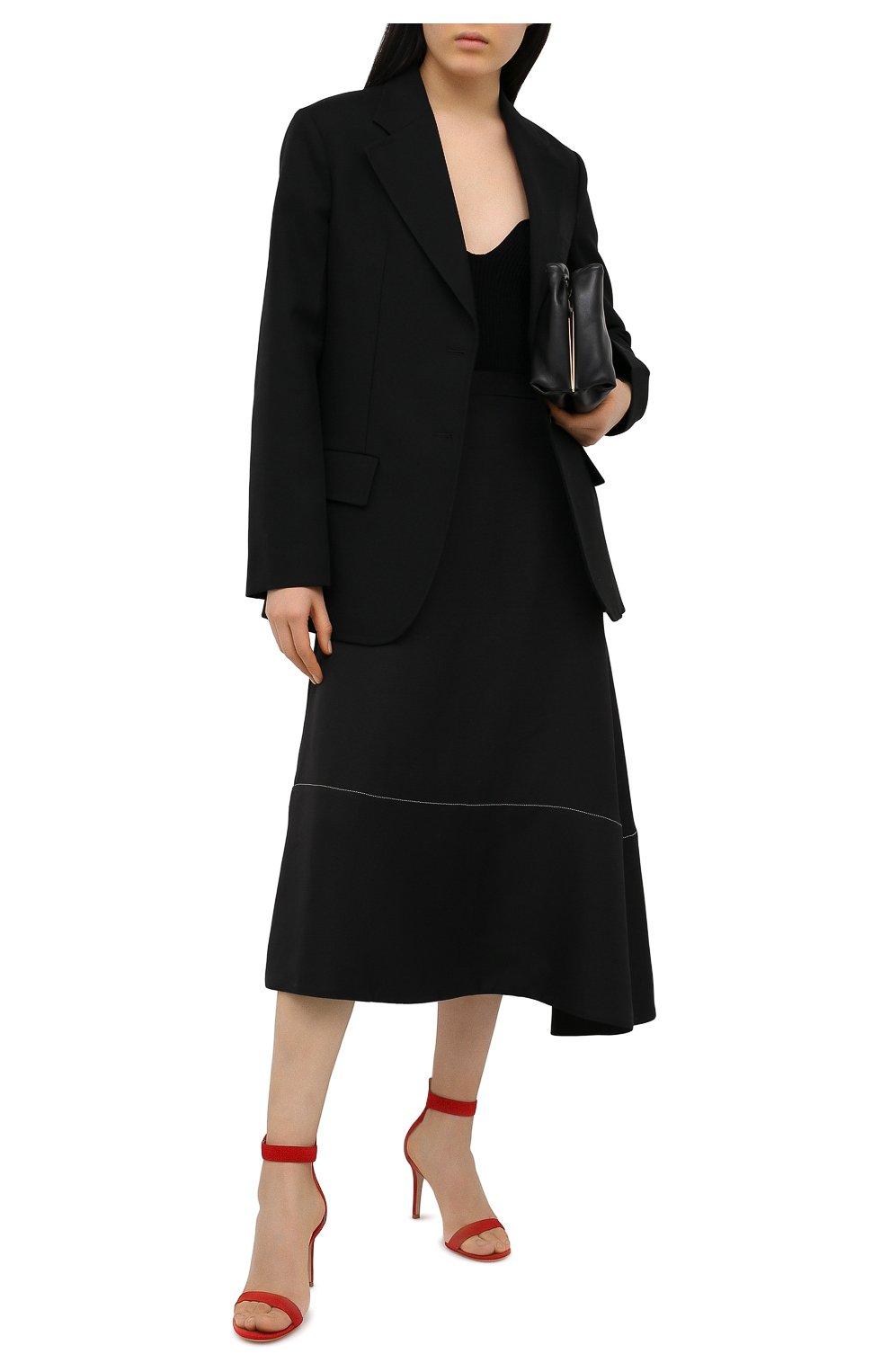 Женские замшевые босоножки portofino GIANVITO ROSSI красного цвета, арт. G60953.85RIC.CAMTABS | Фото 2 (Каблук высота: Высокий; Материал внутренний: Натуральная кожа; Каблук тип: Шпилька; Подошва: Плоская; Материал внешний: Замша)