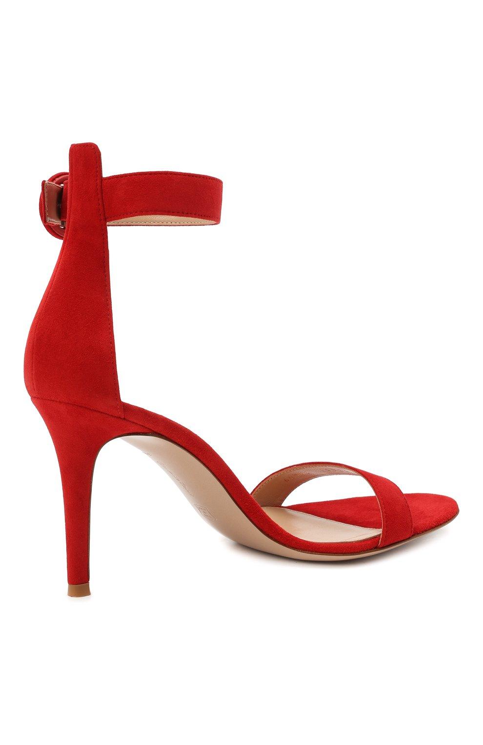 Женские замшевые босоножки portofino GIANVITO ROSSI красного цвета, арт. G60953.85RIC.CAMTABS | Фото 4 (Каблук высота: Высокий; Материал внутренний: Натуральная кожа; Каблук тип: Шпилька; Подошва: Плоская; Материал внешний: Замша)