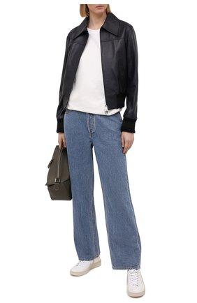 Женская кожаная куртка VICTORIA BECKHAM темно-синего цвета, арт. 1121LJK002339A | Фото 2