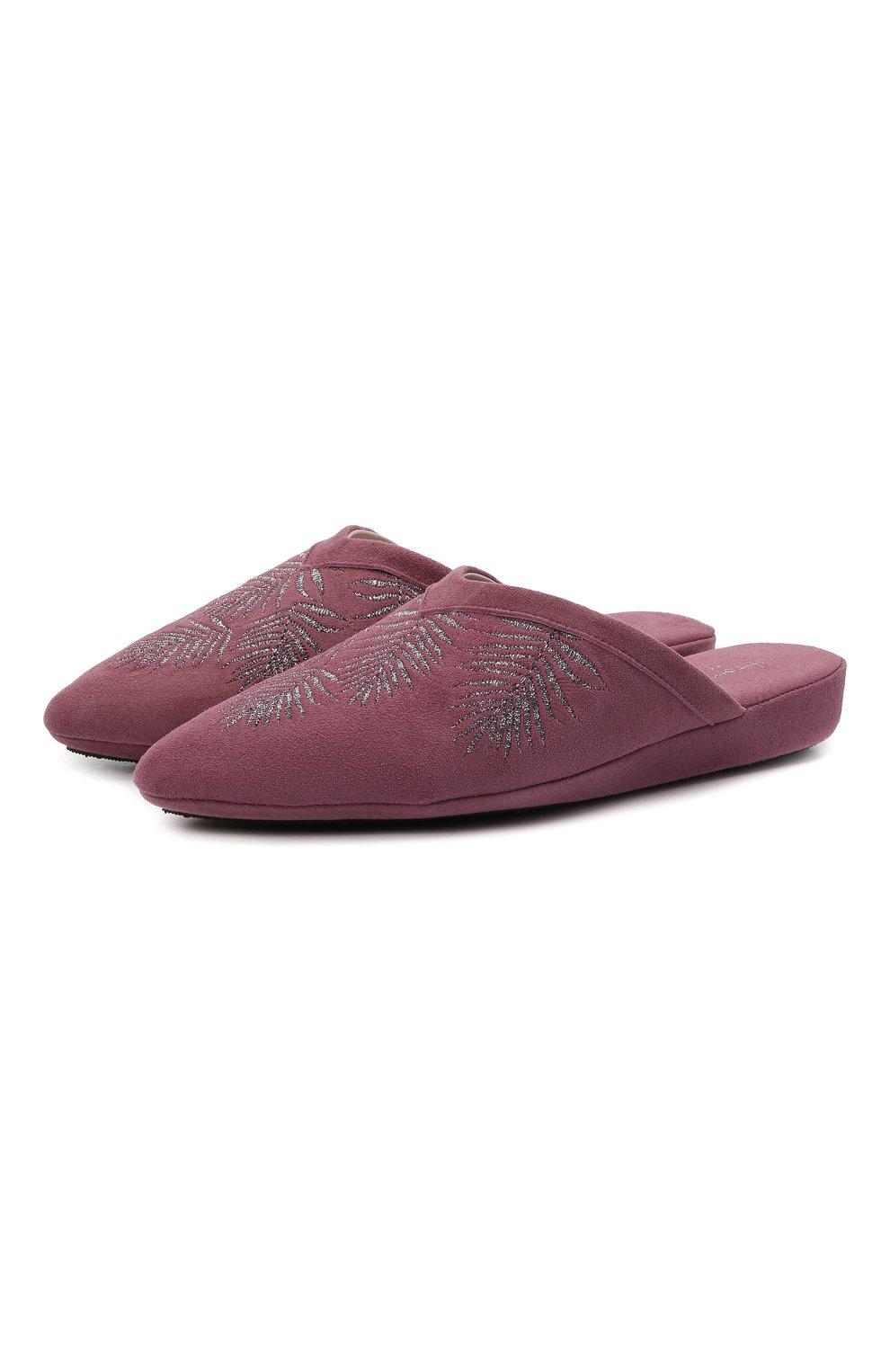 Женского туфли комнатные HOMERS AT HOME сиреневого цвета, арт. 19077R/ANTE   Фото 1 (Каблук высота: Низкий; Материал внутренний: Натуральная кожа; Женское Кросс-КТ: тапочки-домашняя обувь; Подошва: Плоская)