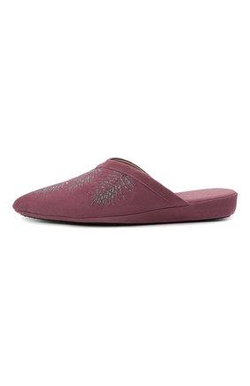 Женского туфли комнатные HOMERS AT HOME сиреневого цвета, арт. 19077R/ANTE   Фото 3 (Каблук высота: Низкий; Материал внутренний: Натуральная кожа; Женское Кросс-КТ: тапочки-домашняя обувь; Подошва: Плоская)