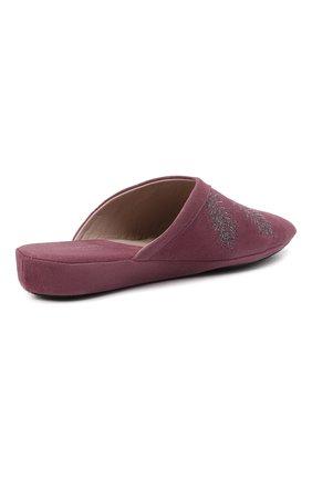Женского туфли комнатные HOMERS AT HOME сиреневого цвета, арт. 19077R/ANTE   Фото 4 (Каблук высота: Низкий; Материал внутренний: Натуральная кожа; Женское Кросс-КТ: тапочки-домашняя обувь; Подошва: Плоская)