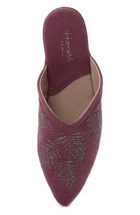 Женского туфли комнатные HOMERS AT HOME сиреневого цвета, арт. 19077R/ANTE   Фото 5 (Каблук высота: Низкий; Материал внутренний: Натуральная кожа; Женское Кросс-КТ: тапочки-домашняя обувь; Подошва: Плоская)