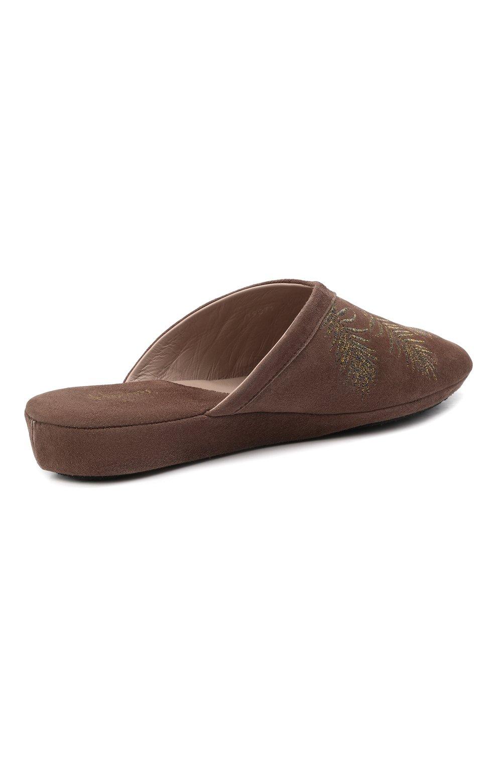Женского туфли комнатные HOMERS AT HOME темно-коричневого цвета, арт. 19077R/ANTE | Фото 4 (Каблук высота: Низкий; Материал внутренний: Натуральная кожа; Женское Кросс-КТ: тапочки-домашняя обувь; Подошва: Плоская)