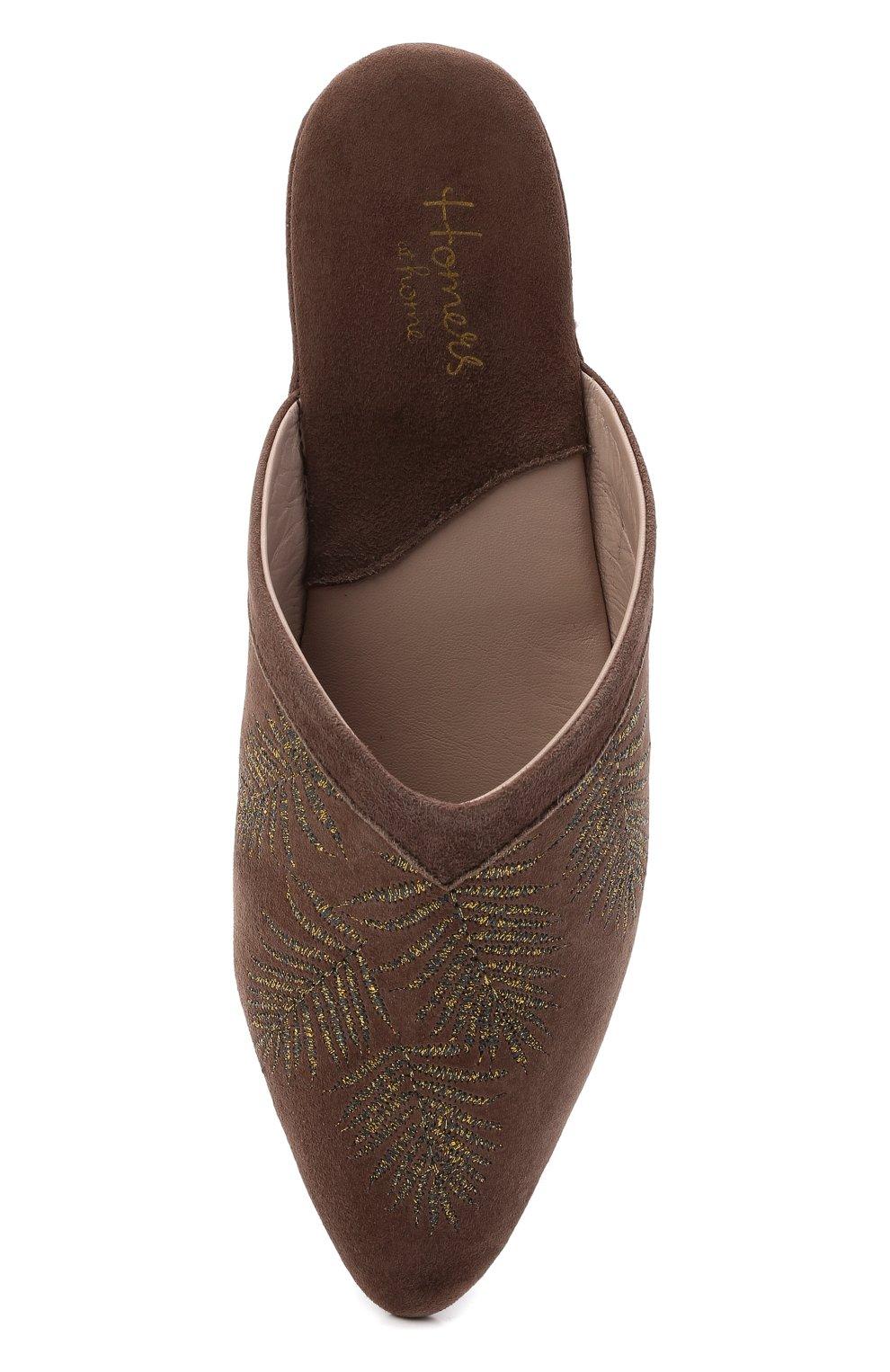 Женского туфли комнатные HOMERS AT HOME темно-коричневого цвета, арт. 19077R/ANTE | Фото 5 (Каблук высота: Низкий; Материал внутренний: Натуральная кожа; Женское Кросс-КТ: тапочки-домашняя обувь; Подошва: Плоская)