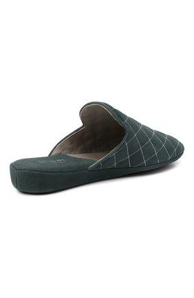 Женского домашние туфли из замши HOMERS AT HOME бирюзового цвета, арт. 19582R/ANTE | Фото 4 (Каблук высота: Низкий; Материал внутренний: Натуральная кожа; Женское Кросс-КТ: тапочки-домашняя обувь; Подошва: Плоская; Материал внешний: Замша)