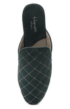 Женского домашние туфли из замши HOMERS AT HOME бирюзового цвета, арт. 19582R/ANTE | Фото 5 (Каблук высота: Низкий; Материал внутренний: Натуральная кожа; Женское Кросс-КТ: тапочки-домашняя обувь; Подошва: Плоская; Материал внешний: Замша)