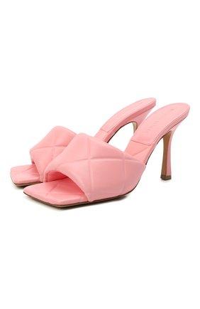 Женские кожаные мюли bv rubber lido BOTTEGA VENETA розового цвета, арт. 639943/VBP30 | Фото 1