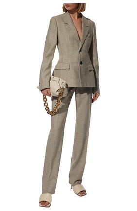 Женские кожаные мюли bv rubber BOTTEGA VENETA кремвого цвета, арт. 639943/VBP30 | Фото 2