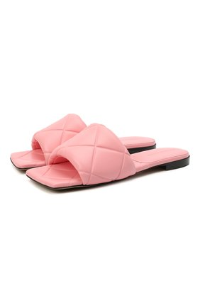Женские кожаные шлепанцы bv rubber lido BOTTEGA VENETA розового цвета, арт. 639940/VBP30   Фото 1