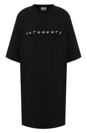 Женская хлопковая футболка VETEMENTS черного цвета, арт. UE51TR340B 1611/W | Фото 1