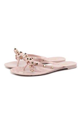 Женские шлепанцы valentino garavani rockstud VALENTINO светло-розового цвета, арт. VW2S0552/PVS   Фото 1