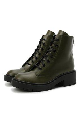Женские кожаные ботинки KENZO хаки цвета, арт. FA62BT340L62 | Фото 1