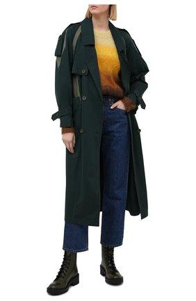 Женские кожаные ботинки KENZO хаки цвета, арт. FA62BT340L62 | Фото 2
