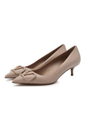 Женские кожаные туфли valentino garavani vlogo VALENTINO бежевого цвета, арт. VW2S0Q63/MZF | Фото 1