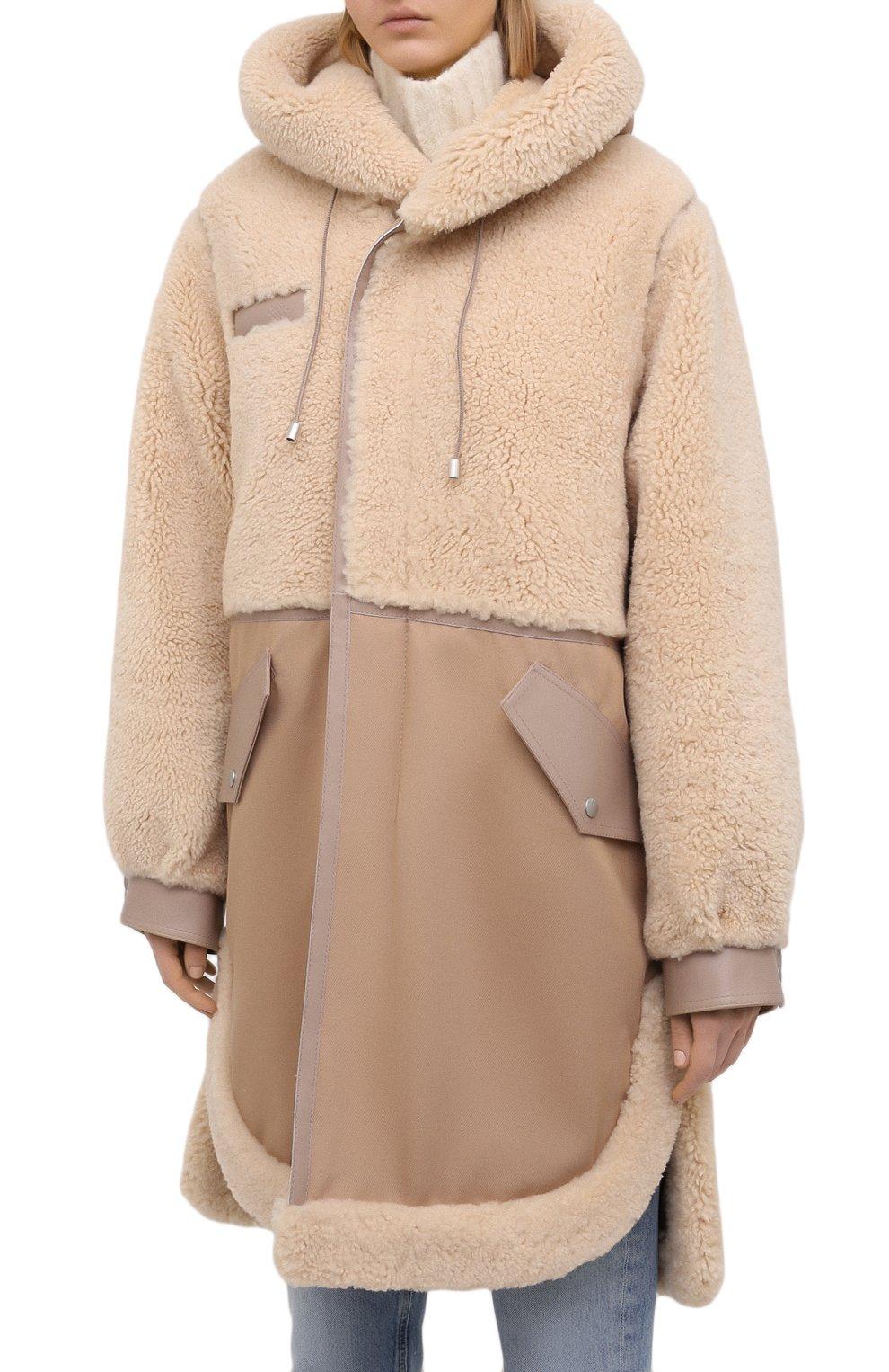 Женская дубленка MR&MRS ITALY коричневого цвета, арт. 211XPK0319   Фото 3 (Рукава: Длинные; Материал внешний: Натуральный мех, Хлопок; Длина (верхняя одежда): До колена; Материал подклада: Синтетический материал; Стили: Кэжуэл)