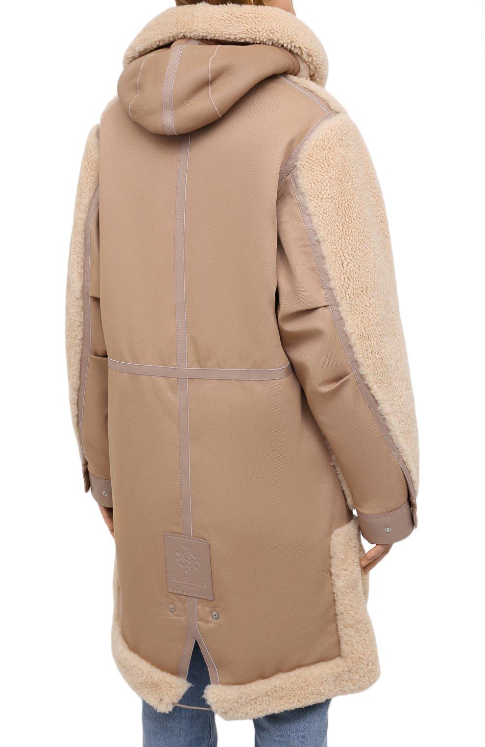 Женская дубленка MR&MRS ITALY коричневого цвета, арт. 211XPK0319   Фото 4 (Рукава: Длинные; Материал внешний: Натуральный мех, Хлопок; Длина (верхняя одежда): До колена; Материал подклада: Синтетический материал; Стили: Кэжуэл)