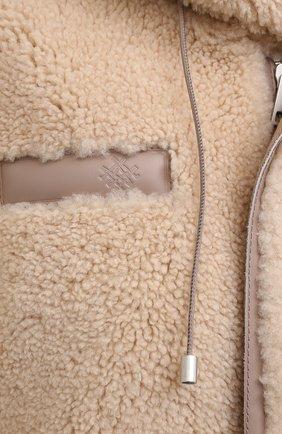 Женская дубленка MR&MRS ITALY коричневого цвета, арт. 211XPK0319   Фото 5 (Рукава: Длинные; Материал внешний: Натуральный мех, Хлопок; Длина (верхняя одежда): До колена; Материал подклада: Синтетический материал; Стили: Кэжуэл)