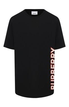 Женская хлопковая футболка BURBERRY черного цвета, арт. 8037382 | Фото 1