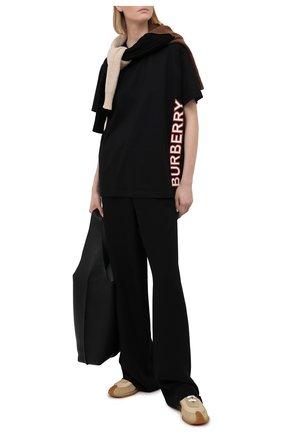 Женская хлопковая футболка BURBERRY черного цвета, арт. 8037382 | Фото 2