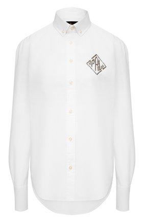 Женская хлопковая рубашка POLO RALPH LAUREN белого цвета, арт. 211780688 | Фото 1