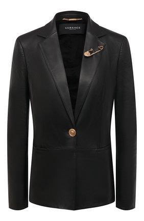 Женский кожаный жакет VERSACE черного цвета, арт. A85481/A210037 | Фото 1