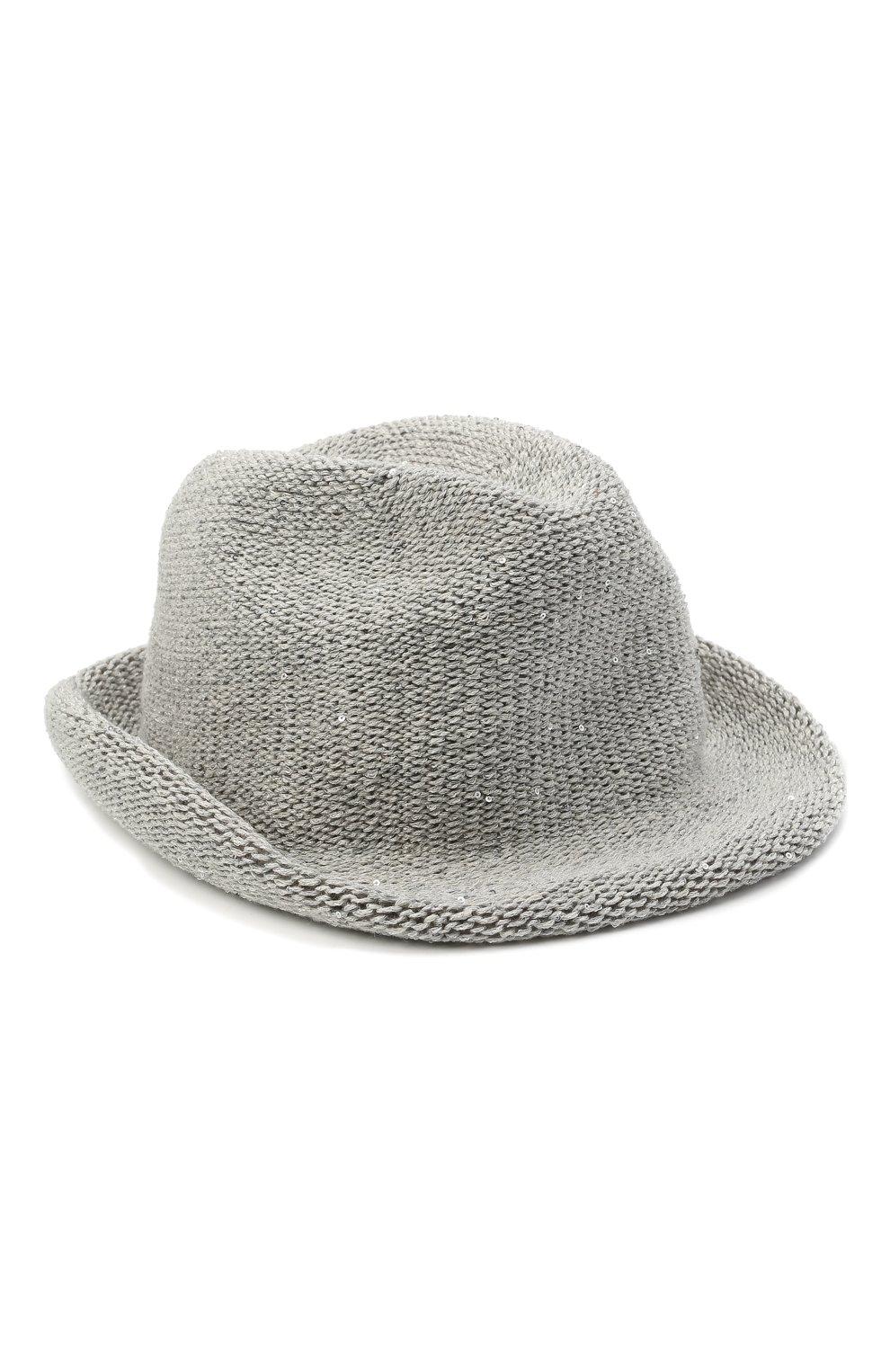 Женская шляпа LORENA ANTONIAZZI светло-серого цвета, арт. P2189CE002/2815 | Фото 1 (Материал: Текстиль, Лен)