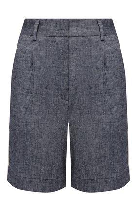 Женские шорты из вискозы и льна LORENA ANTONIAZZI темно-синего цвета, арт. P2117PA006/3377 | Фото 1