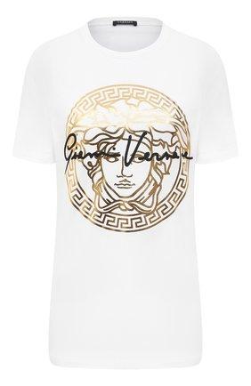 Женская хлопковая футболка VERSACE белого цвета, арт. A87456/A228806 | Фото 1