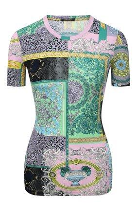 Женская футболка из вискозы VERSACE разноцветного цвета, арт. A88681/1F00628 | Фото 1