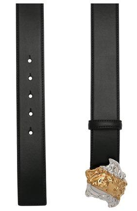 Женский кожаный ремень VERSACE черного цвета, арт. DCDI009/DV3TN | Фото 2 (Материал: Кожа)