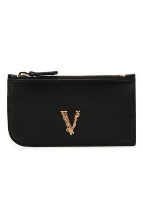 Женский кожаный футляр для кредитных карт VERSACE черного цвета, арт. DP3H333V/D11VIT   Фото 1