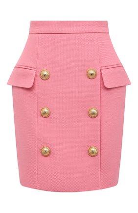 Женская хлопковая юбка BALMAIN розового цвета, арт. VF14004/C208 | Фото 1