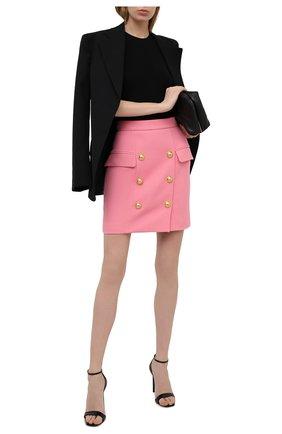 Женская хлопковая юбка BALMAIN розового цвета, арт. VF14004/C208 | Фото 2