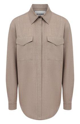 Женская шерстяная рубашка JIL SANDER бежевого цвета, арт. JSPS601005-WS202600 | Фото 1