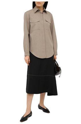Женская шерстяная рубашка JIL SANDER бежевого цвета, арт. JSPS601005-WS202600 | Фото 2