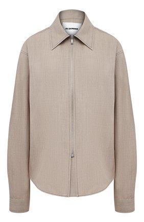Женская шерстяная рубашка JIL SANDER бежевого цвета, арт. JSPS600605-WS202600 | Фото 1