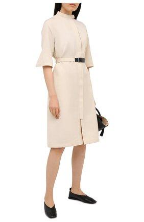 Женское платье из вискозы и шелка JIL SANDER кремвого цвета, арт. JSPS501426-WS390300 | Фото 2