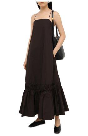 Женское хлопковое платье JIL SANDER коричневого цвета, арт. JSPS500406-WS245100 | Фото 2
