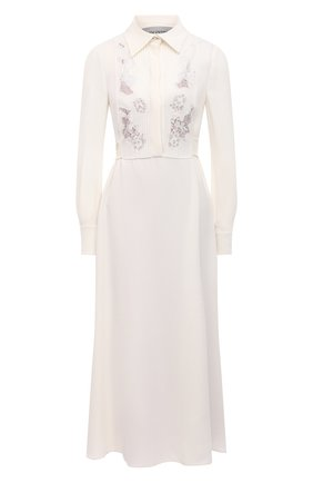 Женское шелковое платье VALENTINO белого цвета, арт. VB3VAUU01MM | Фото 1