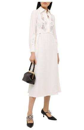 Женское шелковое платье VALENTINO белого цвета, арт. VB3VAUU01MM | Фото 2