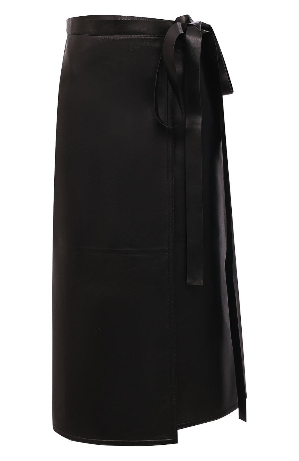 Женская кожаная юбка VALENTINO черного цвета, арт. VB3NIA1569R | Фото 1