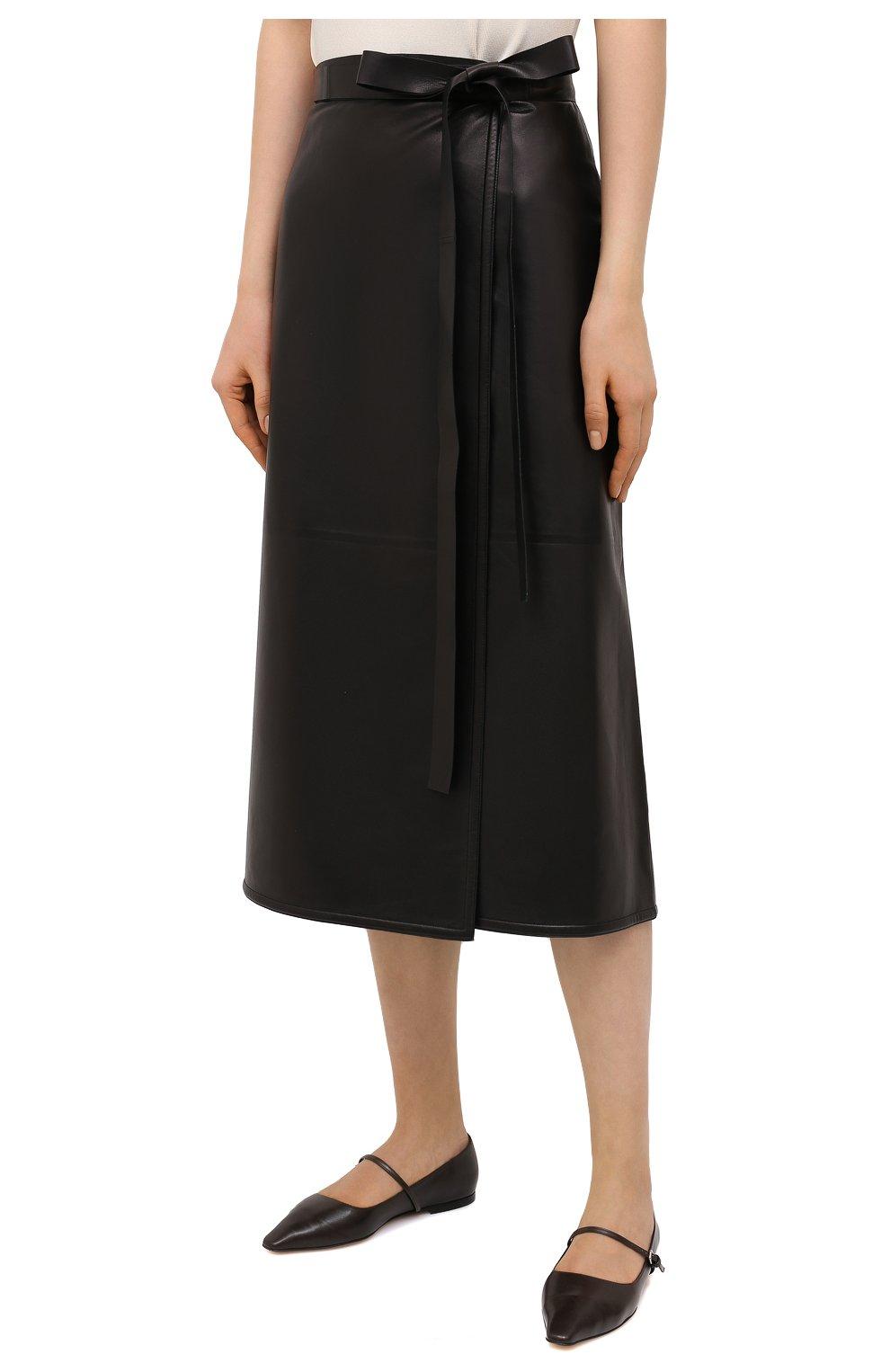 Женская кожаная юбка VALENTINO черного цвета, арт. VB3NIA1569R | Фото 3
