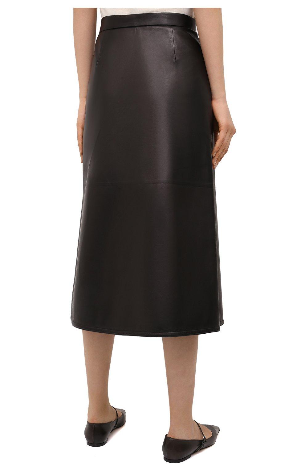 Женская кожаная юбка VALENTINO черного цвета, арт. VB3NIA1569R | Фото 4
