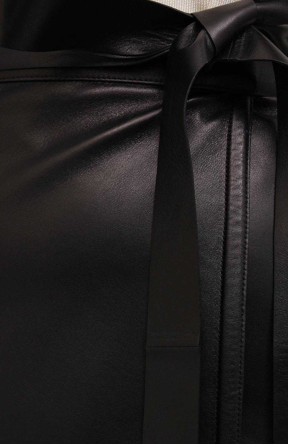 Женская кожаная юбка VALENTINO черного цвета, арт. VB3NIA1569R | Фото 5