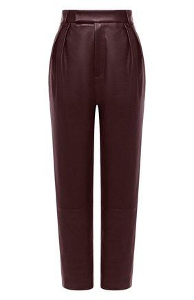 Женские кожаные брюки KHAITE бордового цвета, арт. 3060708/MAGDELINE | Фото 1