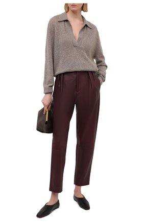 Женские кожаные брюки KHAITE бордового цвета, арт. 3060708/MAGDELINE | Фото 2
