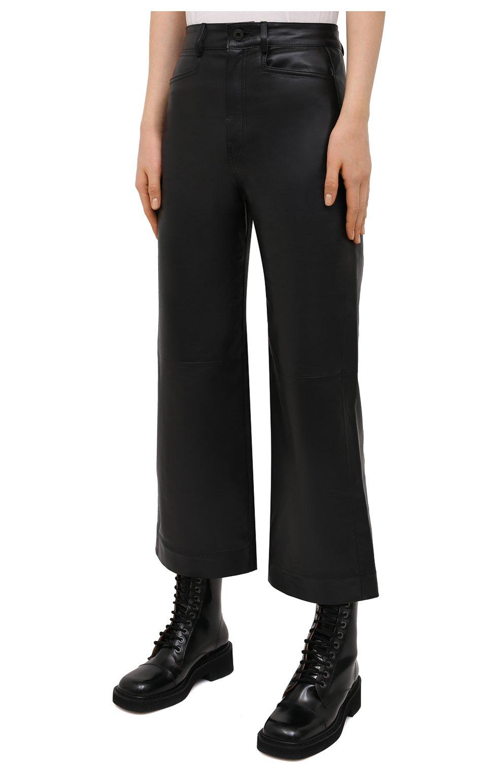 Женские кожаные брюки PROENZA SCHOULER WHITE LABEL черного цвета, арт. WL2116070-LR184 | Фото 3