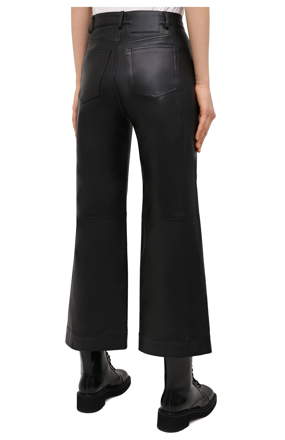 Женские кожаные брюки PROENZA SCHOULER WHITE LABEL черного цвета, арт. WL2116070-LR184 | Фото 4