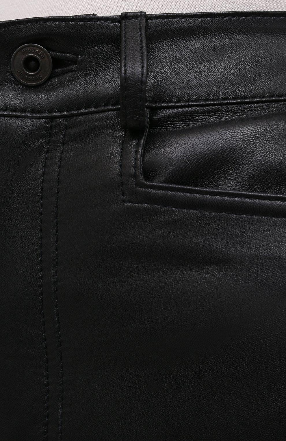 Женские кожаные брюки PROENZA SCHOULER WHITE LABEL черного цвета, арт. WL2116070-LR184 | Фото 5